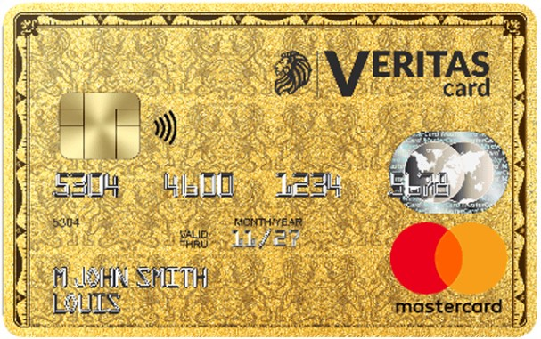 Recto d'une Carte mastercard Veritas prépayée
